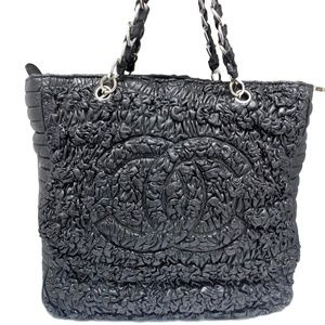 Chanel Ruffled Black Leather Tote